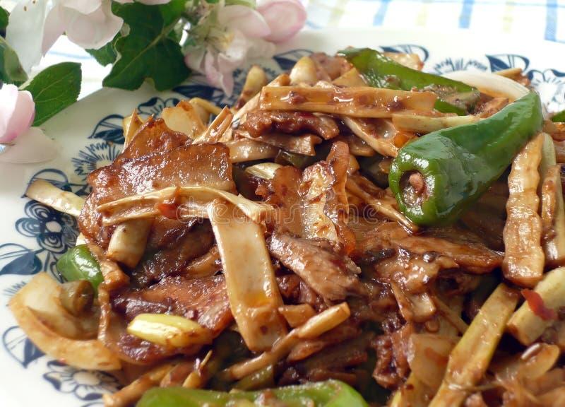 双煮熟的猪肉切片 免版税图库摄影