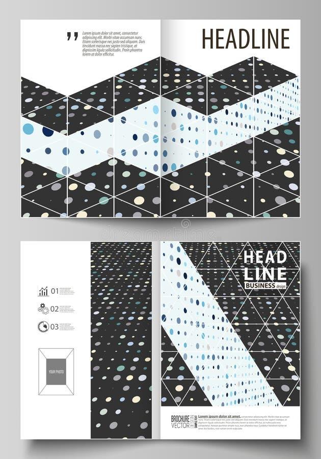 双的企业模板折叠小册子,杂志,飞行物 盖子模板,在A4大小的抽象布局 软的颜色小点 皇族释放例证