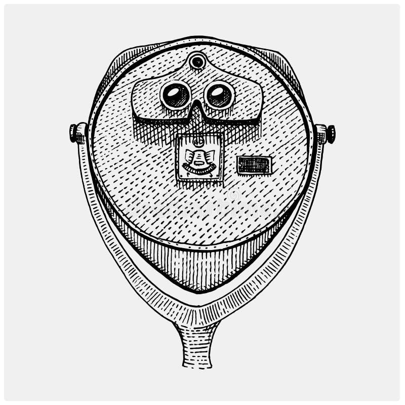 双眼塔投入硬币后自动操作的观察者,小望远镜葡萄酒,刻记了手拉在剪影或木头削减了样式,老看 皇族释放例证