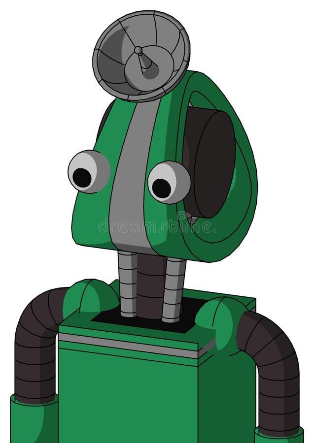 双眼Droid头Green自动机与雷达盘帽 皇族释放例证