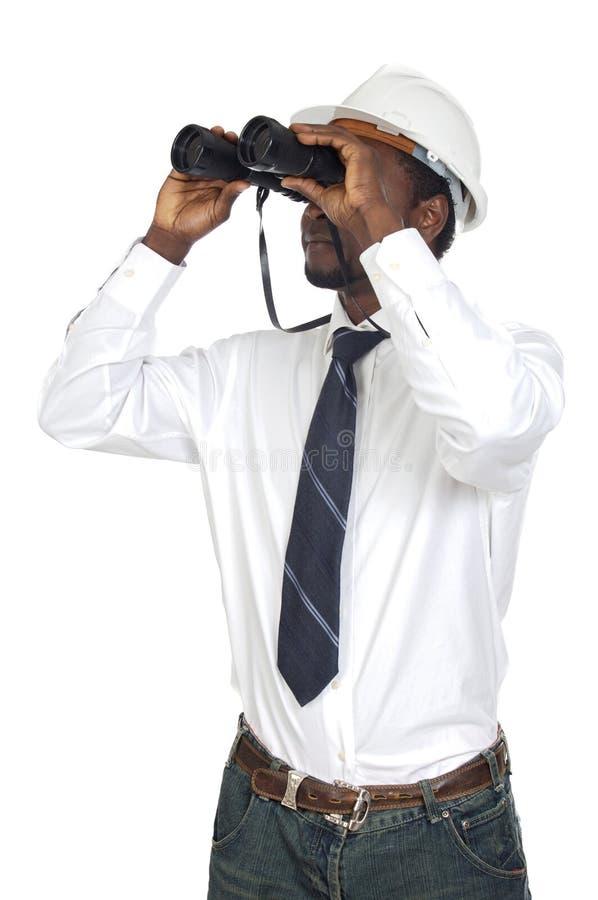 双筒望远镜人 免版税图库摄影