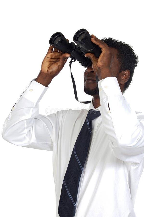 双筒望远镜人 库存图片