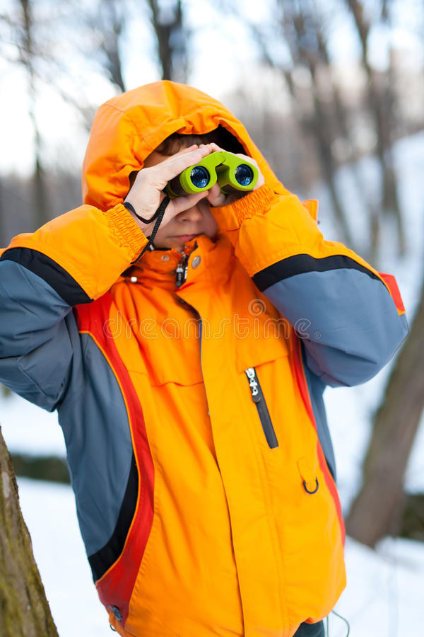 双筒望远镜儿童森林 免版税库存图片