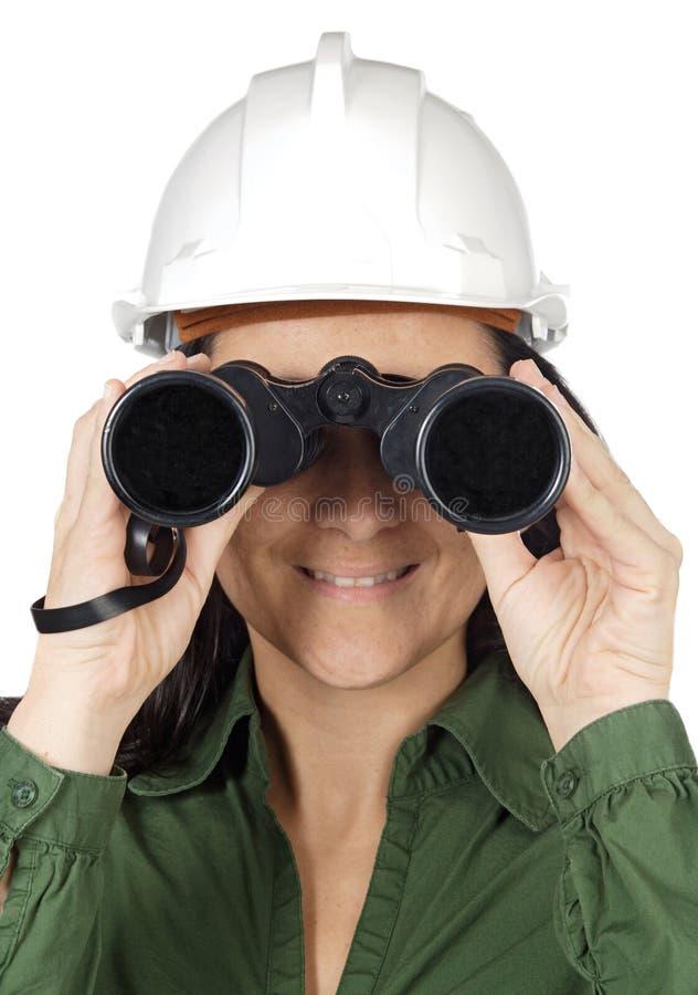 双筒望远镜妇女 免版税图库摄影