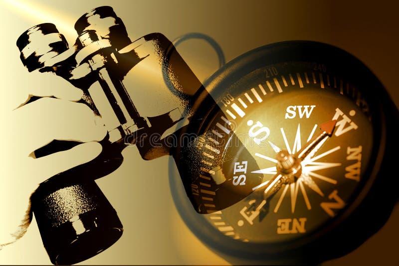 双筒望远镜指南针现有量藏品乌贼属口气 库存照片
