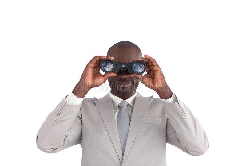双筒望远镜生意人查找 库存照片