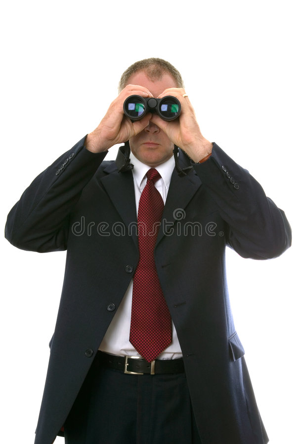 双筒望远镜生意人 免版税库存照片