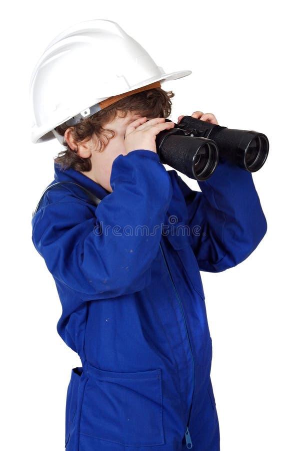 双筒望远镜男孩 库存照片