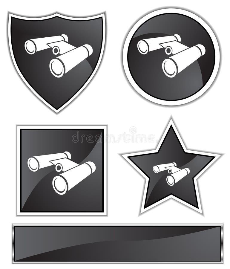 双筒望远镜黑色缎 库存例证