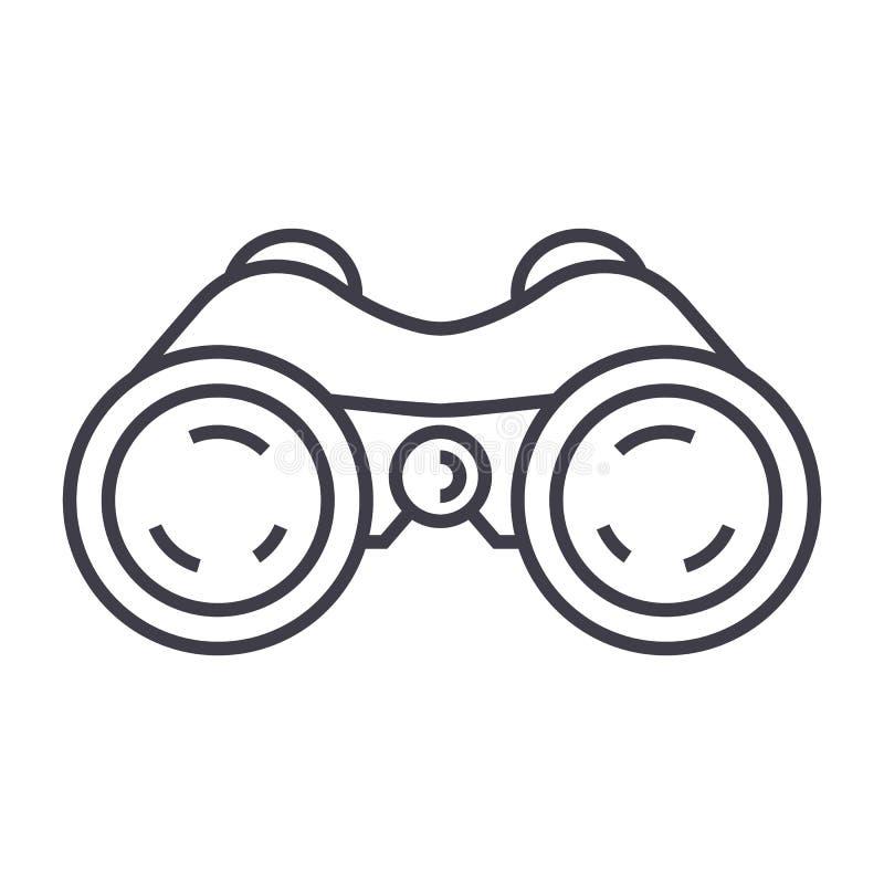 双筒望远镜,潜望镜,视觉传染媒介线象,标志,在背景,编辑可能的冲程的例证 皇族释放例证