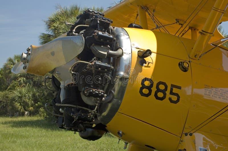双翼飞机引擎 库存照片
