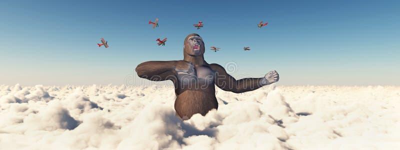双翼飞机攻击一个巨型大猩猩 库存例证