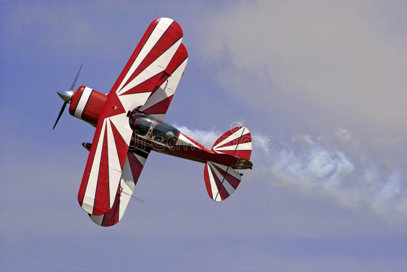 双翼飞机红色白色 图库摄影