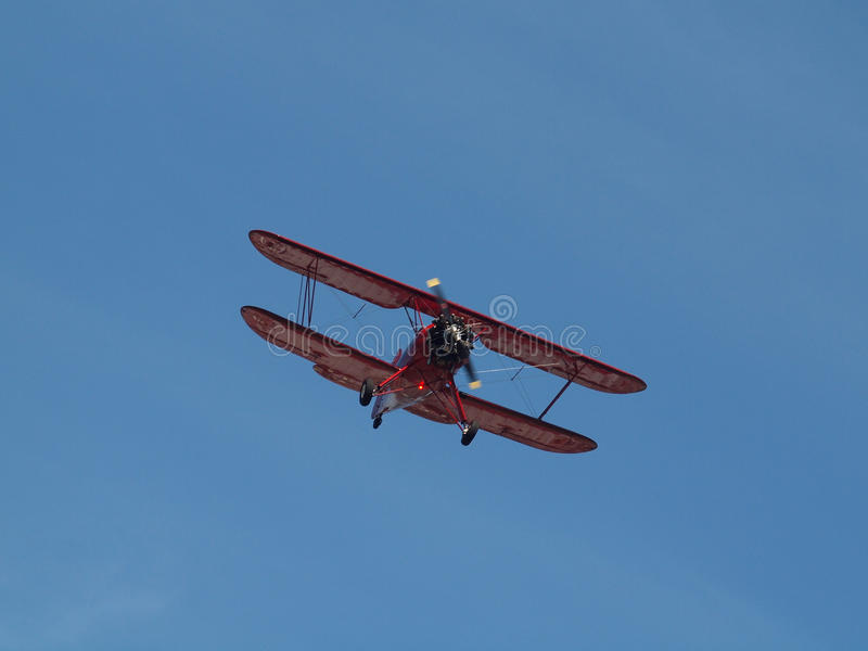 双翼飞机红色 免版税图库摄影