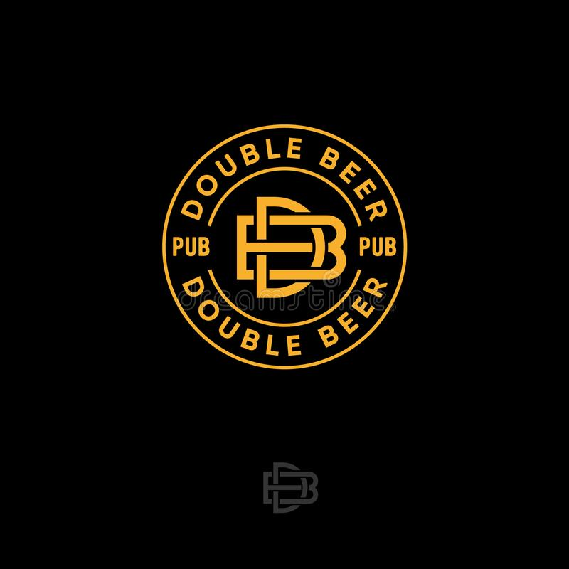 双重啤酒客栈商标 啤酒厂象征或标志 B和D结合了在圈子的信件 线性样式 皇族释放例证