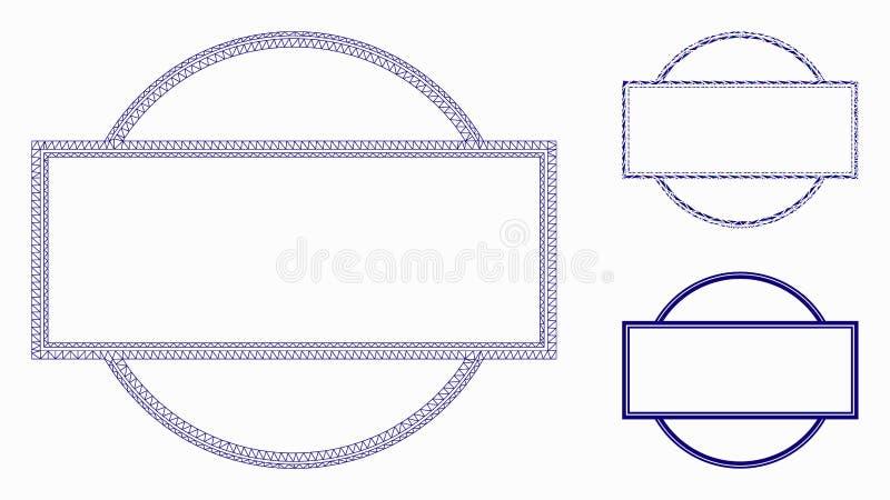 双重回合和长方形框架传染媒介滤网接线框模型和三角马赛克象 皇族释放例证