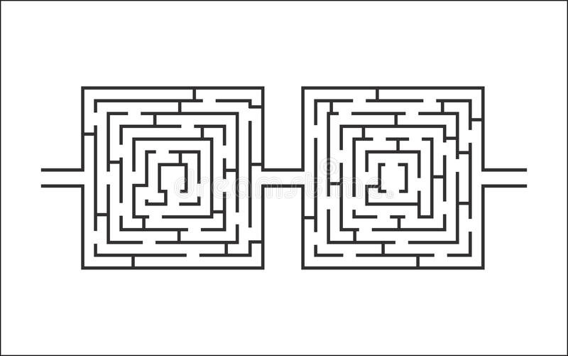 双重困难和长的迷宫教育比赛喜欢玻璃白色 皇族释放例证