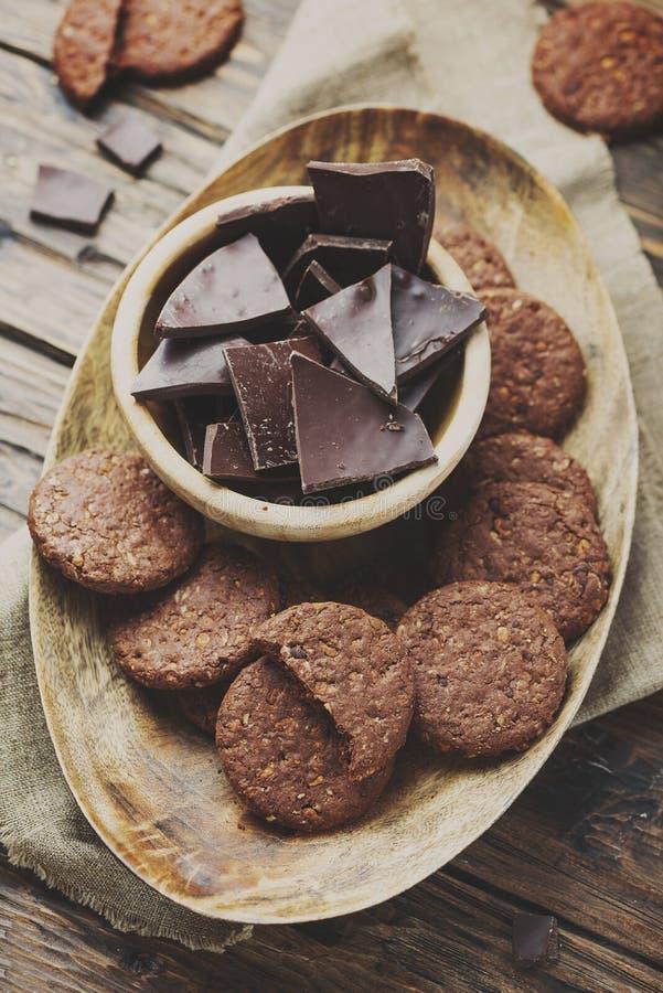 双重巧克力曲奇饼 库存图片