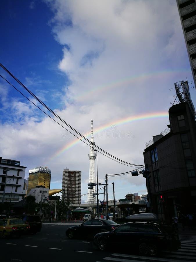 双重彩虹在东京 免版税库存图片