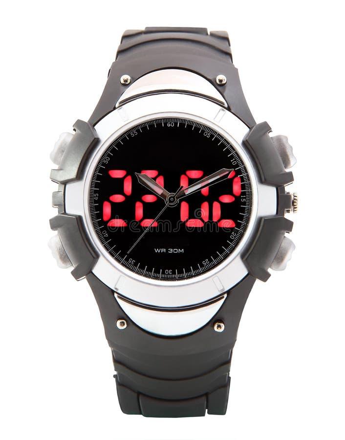 双重时间卷动显示数字式LED体育手表黑色潜水者。 免版税库存照片