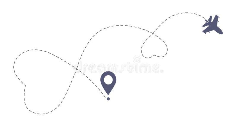 双重爱飞机路线 浪漫旅行simbol,心脏破折线踪影 向量例证