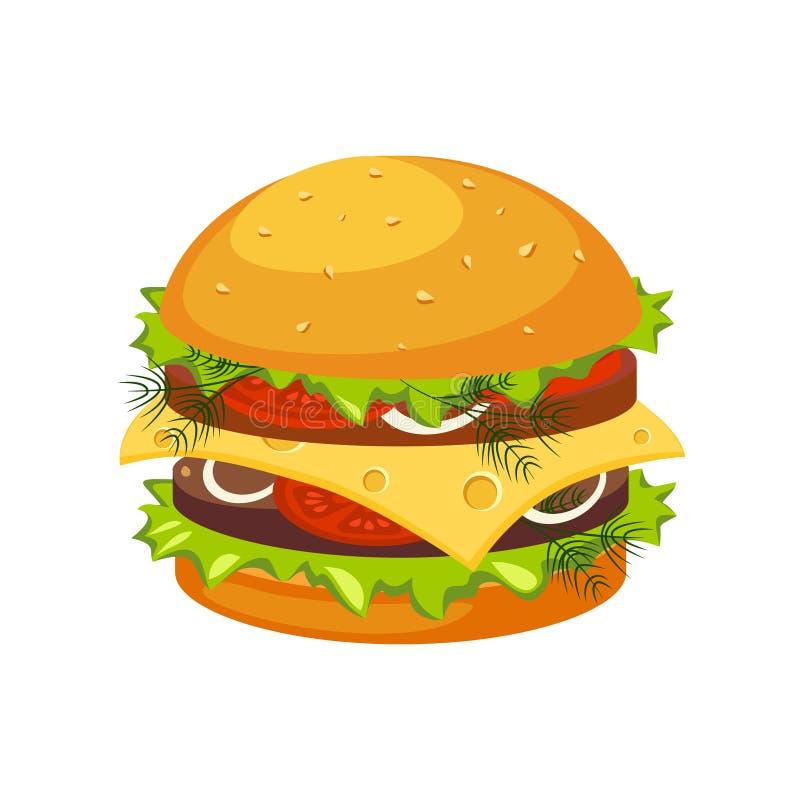双重牛排汉堡用乳酪,街道快餐咖啡馆菜单项目五颜六色的传染媒介象 向量例证