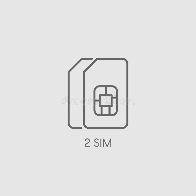 双重西姆象标志 双重西姆卡片标志传染媒介例证 向量例证