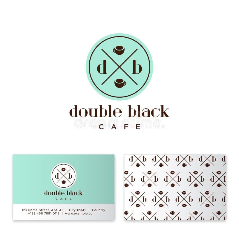 双重黑咖啡馆商标 咖啡象征 与两个咖啡杯的D和B信件在圈子徽章 皇族释放例证