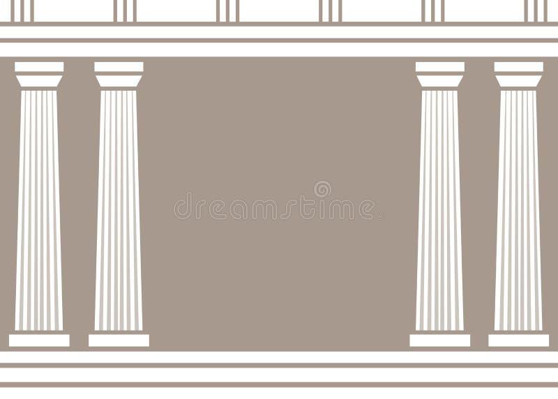 双重经典柱子在棕色背景形成弧光隔绝 向量例证