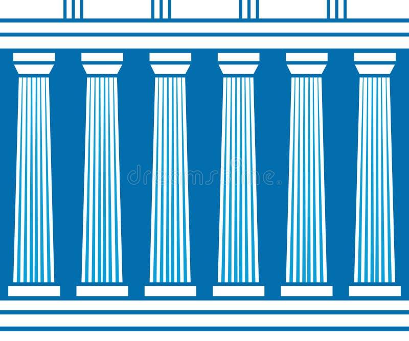 双重经典柱子在蓝色背景形成弧光隔绝 向量例证