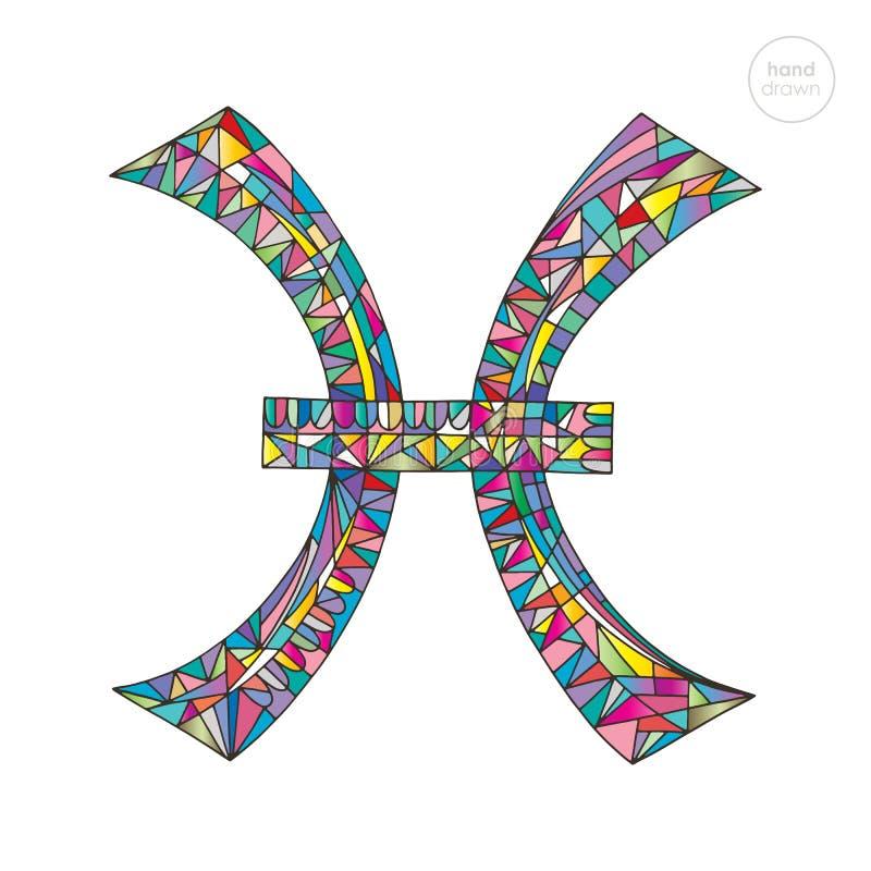 双鱼座黄道带标志 占星术占星例证符号vektor 占星术手拉的系列 在现代样式的五颜六色的不可思议的标志 库存例证
