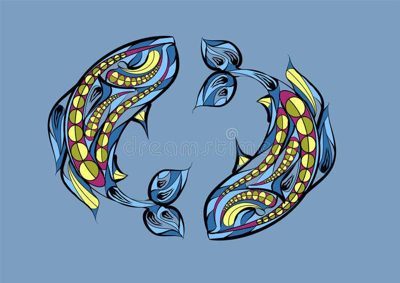 双鱼座黄道带标志 向量例证