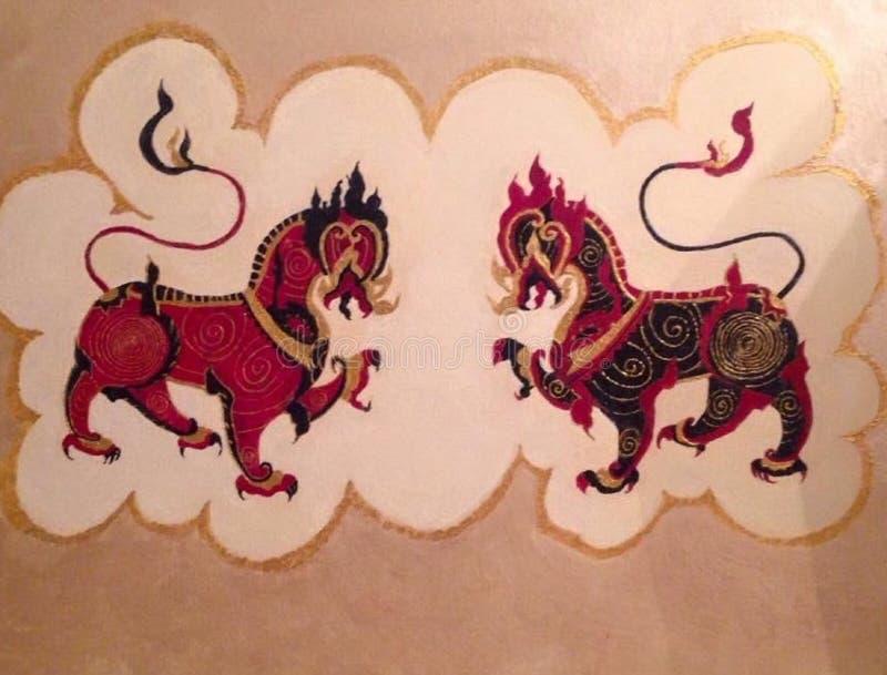 双龙会,双狮子,虚构物妖怪,神话 库存例证