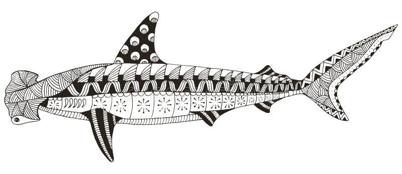 双髻鲨zentangle传统化了,导航,例证, patte 皇族释放例证