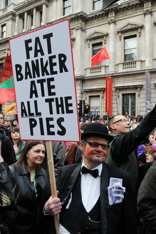 反剪切伦敦抗议者 免版税库存照片