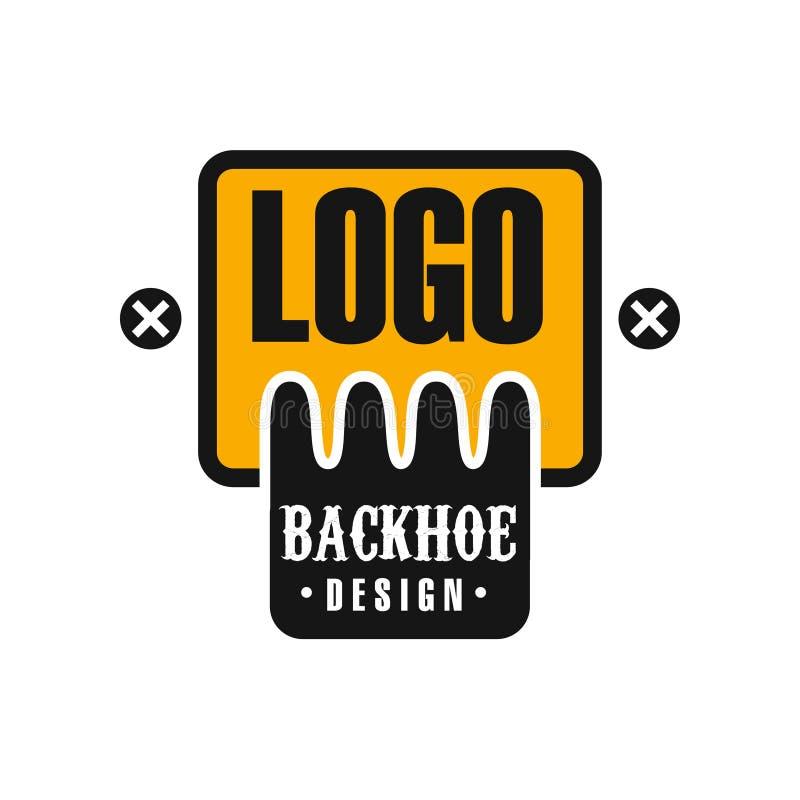 反向铲商标设计,挖掘机设备维护黄色和黑标签传染媒介例证 向量例证