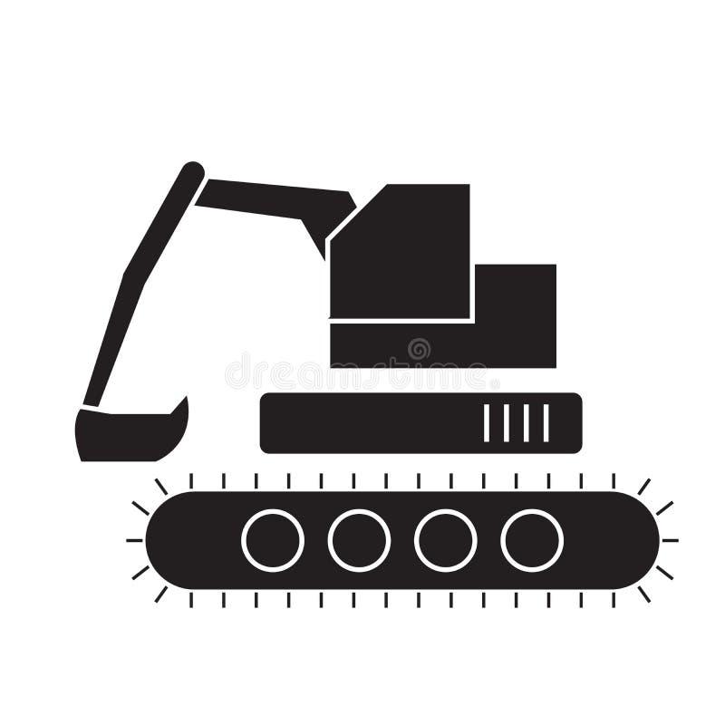 反向铲装载者黑色传染媒介概念象 反向铲装载者平的例证,标志 库存例证