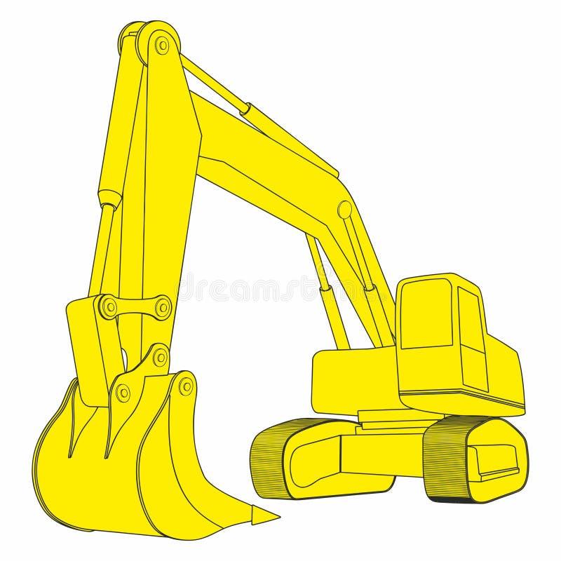 反向铲,黄色挖掘机,建筑车 简单的挖掘机概念 库存例证