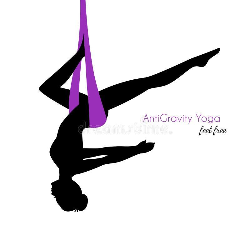 反地心引力的瑜伽摆在妇女剪影 皇族释放例证