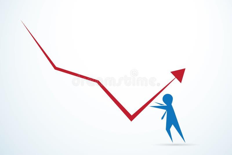 反对一个向下企业趋向的一个无所畏惧的商人 向量例证