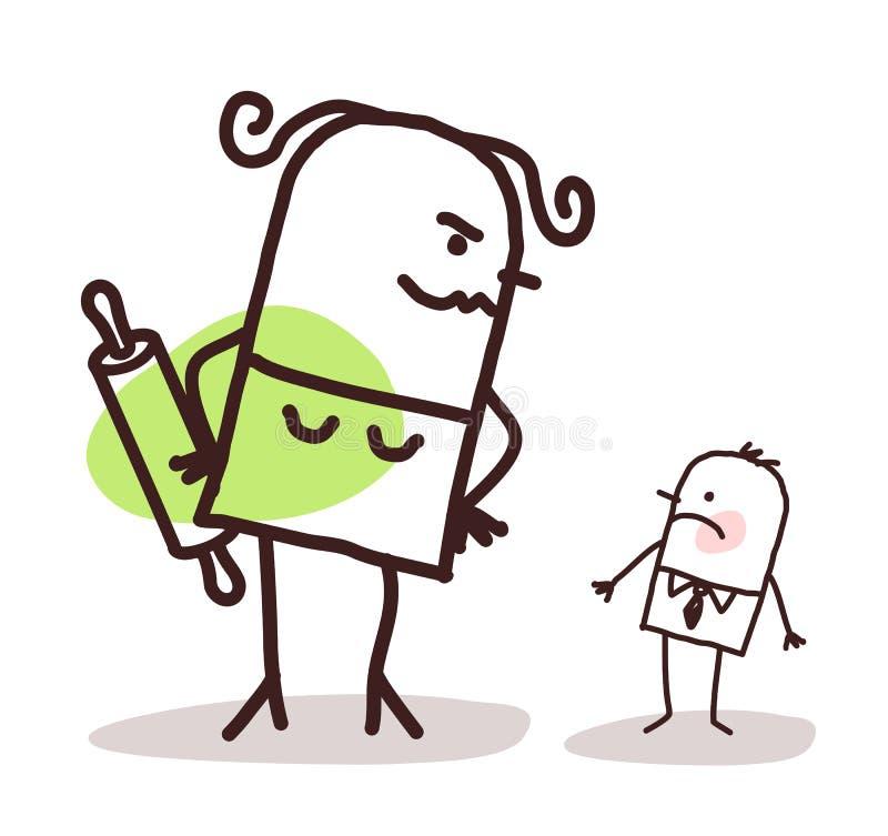反对一个小害羞的丈夫的动画片大恼怒的妻子 库存例证