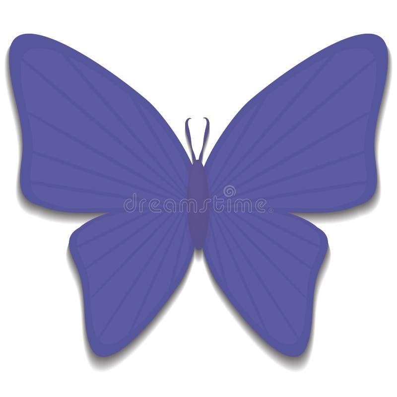 反对与与天线的阴影简单的蓝色昆虫蝴蝶并且斑纹在白色背景隔绝的收藏 皇族释放例证
