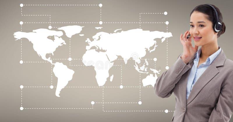 反对世界地图的顾客服务执行委员在背景中 库存图片