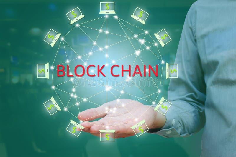 反对两次曝光概念的Blockchain网络 商人 免版税库存图片