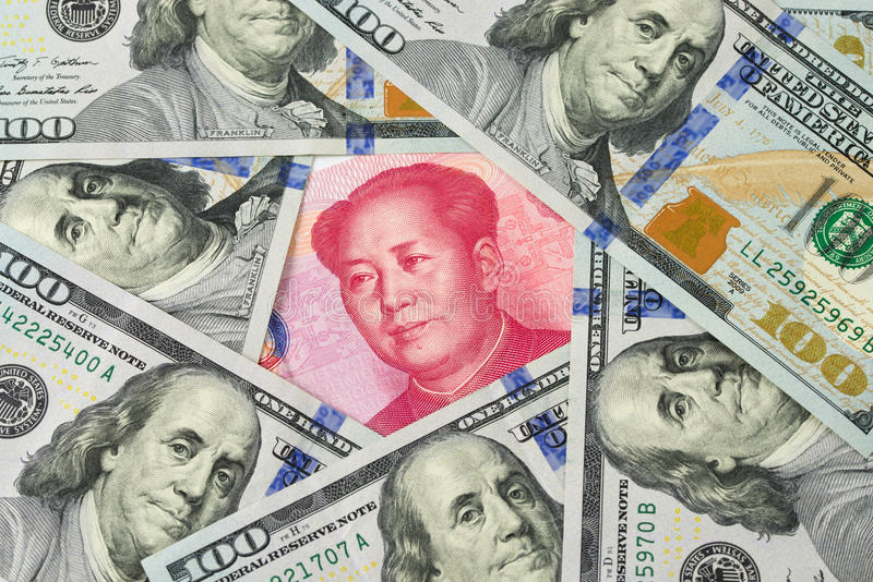 反对中国元的美元 免版税图库摄影