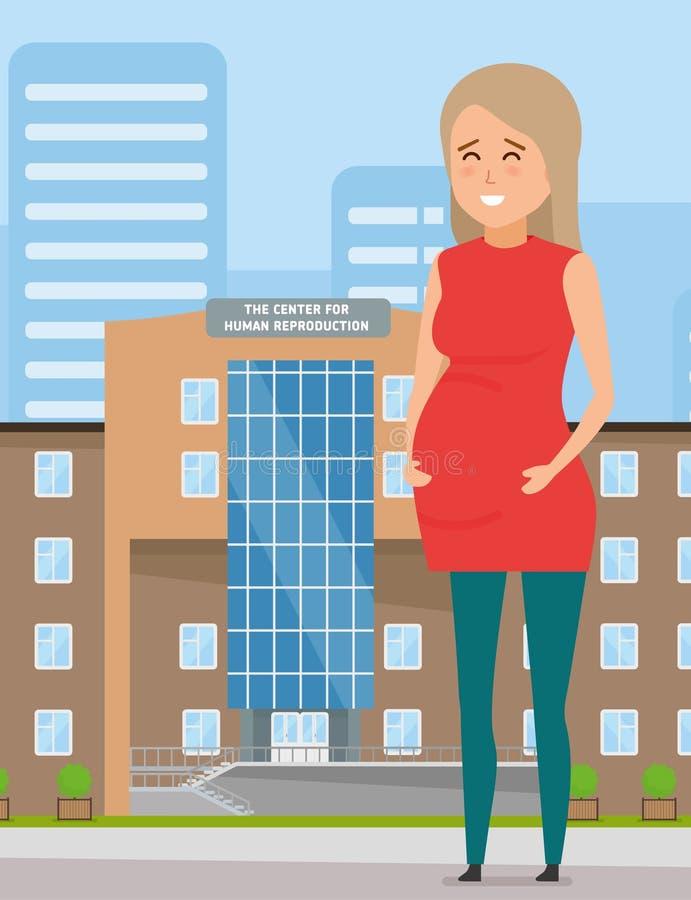 反对中心的大厦的愉快的怀孕的女孩人的再生产 向量例证