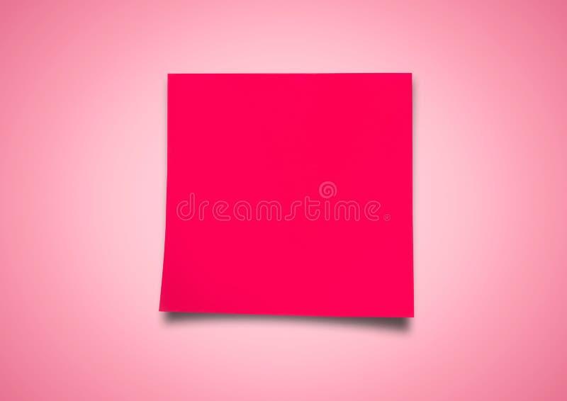 反对中立桃红色背景的红色稠粘的笔记 向量例证