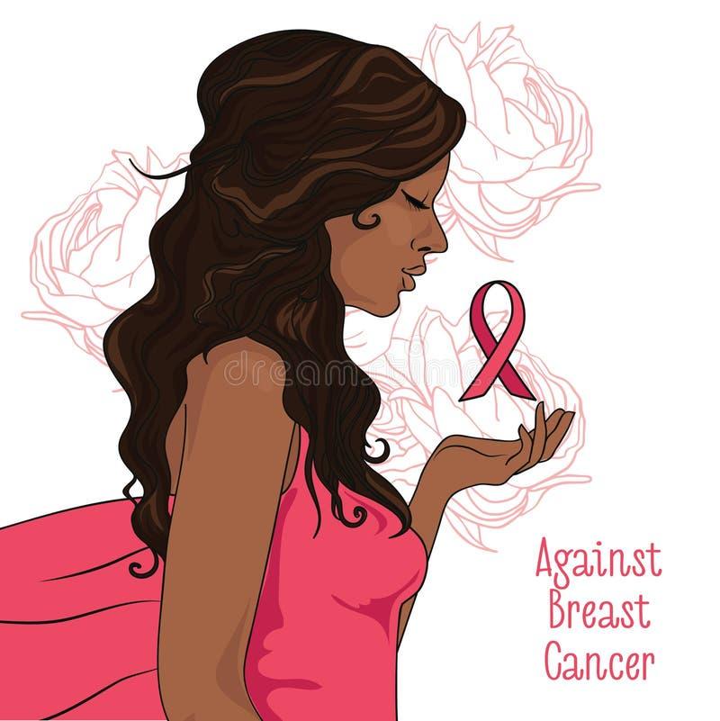 反对乳腺癌横幅,有桃红色丝带的美丽的女孩 库存例证