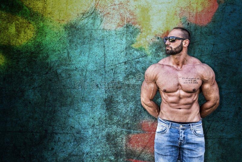 反对五颜六色的背景的英俊的肌肉赤裸上身的厚片人 免版税库存照片