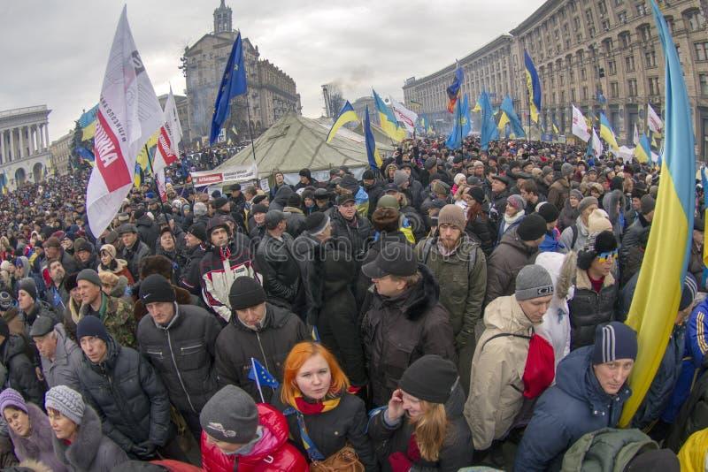 反对亲俄国乌克兰人的群众抗议追猎Presiden 库存照片